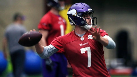 Minnesota Vikings quarterback Case Keenum throws a pass during warmups in Eden Prairie, Minn., Thursday, Jan. 11, 2018, in preparation for Sunday's NFL playoff football game against the New Orleans Saints in Minneapolis. (AP Photo/Jim Mone)