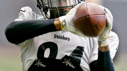 Pittsburgh Steelers wide receiver Antonio Brown (84) makes a catch during drills in an NFL football practice, Thursday, Jan. 11, 2018, in Pittsburgh. The Steelers host the Jacksonville Jaguars in a divisional playoff on Sunday. (AP Photo/Keith Srakocic)