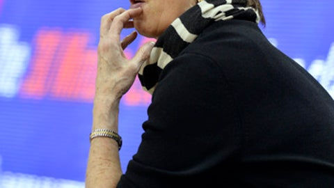 Notre Dame head coach Muffet McGraw watches the first half of an NCAA college basketball game against Louisville, Thursday, Jan. 11, 2018, in Louisville, Ky. (AP Photo/Timothy D. Easley)