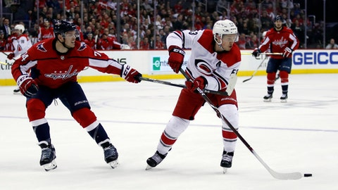 Washington Capitals defenseman John Carlson (74) defends against Carolina Hurricanes left wing Jeff Skinner (53) in the second period of an NHL hockey game, Thursday, Jan. 11, 2018, in Washington. (AP Photo/Alex Brandon)