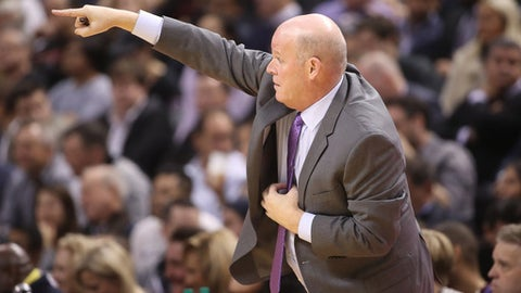 TORONTO, ON - NOVEMBER 29: Head coach Steve Clifford of the Charlotte Hornets motions from the sideline against the Toronto Raptors during NBA game action at Air Canada Centre on November 29, 2017 in Toronto, Canada. NOTE TO USER: User expressly acknowledges and agrees that, by downloading and or using this photograph, User is consenting to the terms and conditions of the Getty Images License Agreement. (Photo by Tom Szczerbowski/Getty Images)
