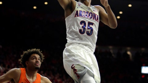 Arizona guard Allonzo Trier (35) drives past Oregon State guard Stephen Thompson Jr. in the second half during an NCAA college basketball game, Thursday, Jan. 11, 2018, in Tucson, Ariz. (AP Photo/Rick Scuteri)