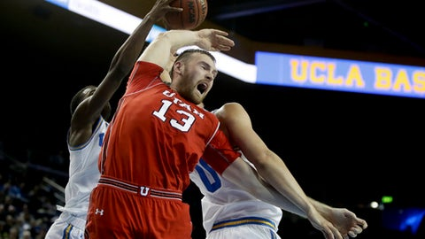 Utah forward David Collette reacts after losing a rebound to UCLA during the first half of an NCAA college basketball game in Los Angeles, Thursday, Jan. 11, 2018. (AP Photo/Chris Carlson)