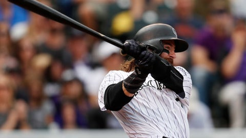 Colorado Rockies center fielder Charlie Blackmon (19) in the third inning of a baseball game Sunday, Oct. 1, 2017, in Denver. The Dodgers won 6-3. (AP Photo/David Zalubowski)