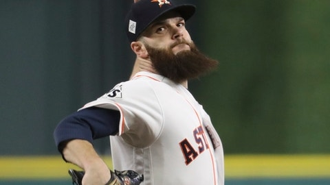 Houston Astros starting pitcher Dallas Keuchel throws during the first inning of Game 5 of baseball's World Series against the Los Angeles Dodgers Sunday, Oct. 29, 2017, in Houston. (AP Photo/Thomas B. Shea, Pool)