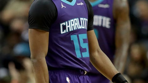 CHARLOTTE, NC - JANUARY 12:  Kemba Walker #15 of the Charlotte Hornets reacts after a play against the Utah Jazz during their game at Spectrum Center on January 12, 2018 in Charlotte, North Carolina.  NOTE TO USER: User expressly acknowledges and agrees that, by downloading and or using this photograph, User is consenting to the terms and conditions of the Getty Images License Agreement.  (Photo by Streeter Lecka/Getty Images)