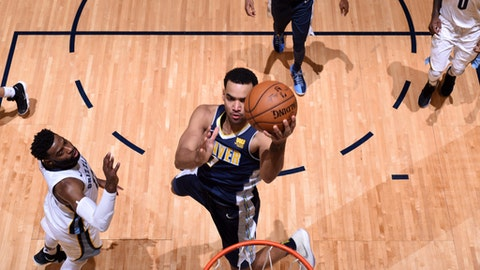 DENVER, CO - JANUARY 12: Trey Lyles #7 of the Denver Nuggets goes to the basket against the Memphis Grizzlies on January 12, 2018 at the Pepsi Center in Denver, Colorado. NOTE TO USER: User expressly acknowledges and agrees that, by downloading and/or using this photograph, user is consenting to the terms and conditions of the Getty Images License Agreement. Mandatory Copyright Notice: Copyright 2018 NBAE (Photo by Garrett Ellwood/NBAE via Getty Images)