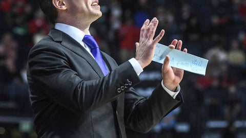 Florida head coach Michael White reacts during an NCAA college basketball game against Mississippi at the Pavilion at Ole Miss in Oxford, Miss. on Saturday, Jan. 13, 2018. (Bruce Newman/The Oxford Eagle via AP)