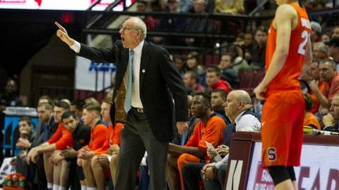 Syracuse head coach Jim Boeheim direct his team in the first half of an NCAA college basketball game against Florida State in Tallahassee, Fla., Saturday, Jan. 13, 2018. (AP Photo/Mark Wallheiser)