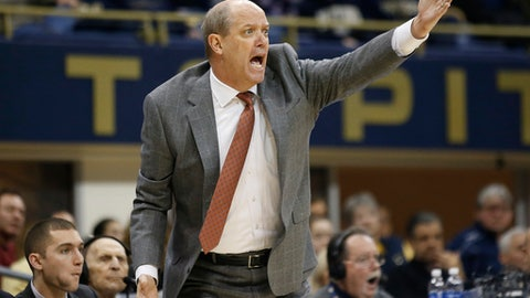 Pittsburgh head coach Kevin Stallings yells from the bench during the first half of an NCAA college basketball game against Georgia Tech, Saturday, Jan. 13, 2018, in Pittsburgh. (AP Photo/Jared Wickerham)
