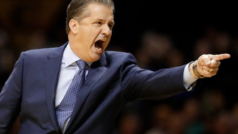 Kentucky head coach John Calipari yells in the first half of an NCAA college basketball game against Vanderbilt, Saturday, Jan. 13, 2018, in Nashville, Tenn. (AP Photo/Mark Humphrey)