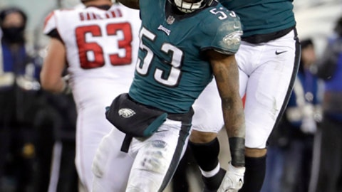 Philadelphia Eagles' Nigel Bradham (53) and Derek Barnett (96) celebrate during the second half of an NFL divisional playoff football game against the Atlanta Falcons, Saturday, Jan. 13, 2018, in Philadelphia. (AP Photo/Chris Szagola)