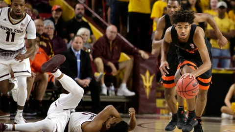 Oregon State guard Ethan Thompson (5) steals the ball from an injured Arizona State guard Tra Holder during the first half of an NCAA college basketball game Saturday, Jan. 13, 2018, in Tempe, Ariz. (AP Photo/Rick Scuteri)