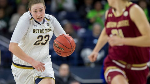 Notre Dame's Jessica Shepard (23) drives downcourt during the first half of an NCAA college basketball game against Boston College, Sunday, Jan. 14, 2018, in South Bend, Ind. (AP Photo/Robert Franklin)