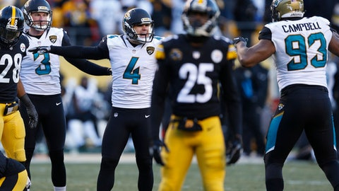Jacksonville Jaguars kicker Josh Lambo (4) celebrates after kicking a field goal during the second half of an NFL divisional football AFC playoff game against the Pittsburgh Steelers in Pittsburgh, Sunday, Jan. 14, 2018. (AP Photo/Keith Srakocic)