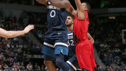 MINNEAPOLIS, MN - JANUARY 14: Jeff Teague #0 of the Minnesota Timberwolves shoots the ball against the Portland Trail Blazers on January 14, 2018 at Target Center in Minneapolis, Minnesota. NOTE TO USER: User expressly acknowledges and agrees that, by downloading and/or using this photograph, user is consenting to the terms and conditions of the Getty Images License Agreement. Mandatory Copyright Notice: Copyright 2018 NBAE (Photo by David Sherman/NBAE via Getty Images)