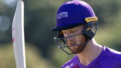 FILE - In this Thursday, Dec. 14, 2017 file photo, England cricketer Ben Stokes walks from the field following his innings of 93 runs in his match for the Canterbury Kings against the Otago Volts in a Twenty/20 match Christchurch, New Zealand. Prosecutors have charged England cricketer Ben Stokes with affray after a violent incident in Bristol in September, it was announced on Monday, Jan. 15, 2018. (AP Photo/Mark Baker, file)
