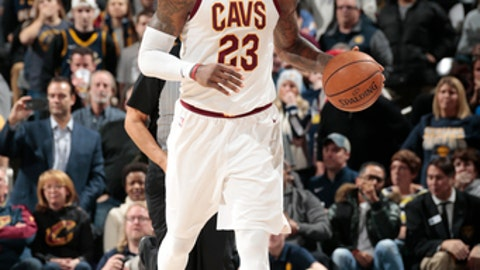 INDIANAPOLIS, IN - JANUARY 12: LeBron James #23 of the Cleveland Cavaliers handles the ball against the Indiana Pacers on January 12, 2018 at Bankers Life Fieldhouse in Indianapolis, Indiana. NOTE TO USER: User expressly acknowledges and agrees that, by downloading and or using this Photograph, user is consenting to the terms and conditions of the Getty Images License Agreement. Mandatory Copyright Notice: Copyright 2018 NBAE (Photo by Ron Hoskins/NBAE via Getty Images)