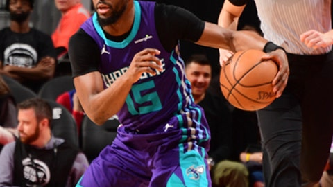DETROIT, MI - JANUARY 15: Kemba Walker #15 of the Charlotte Hornets handles the ball during the game against the Detroit Pistons on January 15, 2018 at Little Caesars Arena in Detroit, Michigan. NOTE TO USER: User expressly acknowledges and agrees that, by downloading and/or using this photograph, User is consenting to the terms and conditions of the Getty Images License Agreement. Mandatory Copyright Notice: Copyright 2018 NBAE (Photo by Chris Schwegler/NBAE via Getty Images)