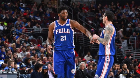 PHILADELPHIA,PA -  JANUARY 15 : Joel Embiid #21 and JJ Redick #17 of the Philadelphia 76ers shake hands against the Toronto Raptors at Wells Fargo Center on January 15, 2018 in Philadelphia, Pennsylvania NOTE TO USER: User expressly acknowledges and agrees that, by downloading and/or using this Photograph, user is consenting to the terms and conditions of the Getty Images License Agreement. Mandatory Copyright Notice: Copyright 2018 NBAE (Photo by Jesse D. Garrabrant/NBAE via Getty Images)