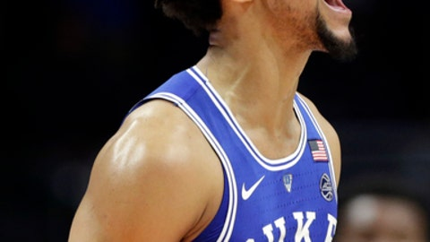 Duke's Gary Trent Jr (2) reacts after scoring during the second half of an NCAA college basketball game against Miami, Monday, Jan. 15, 2018, in Coral Gables, Fla. (AP Photo/Lynne Sladky)