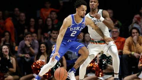 Duke's Gary Trent Jr (2) drives as Miami's Lonnie Walker IV defends during the second half of an NCAA college basketball game, Monday, Jan. 15, 2018, in Coral Gables, Fla. (AP Photo/Lynne Sladky)