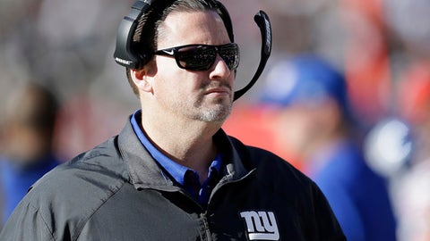FILE - In this Dec. 3, 2017, file photo, then-New York Giants head coach Ben McAdoo watches action during the first half of an NFL football game against the Oakland Raiders, in Oakland, Calif. A person familiar with the situation says former New York Giants coach Ben McAdoo is interviewing with the Cleveland Browns to be their offensive coordinator. McAdoo, who was fired by New York in December, is meeting Tuesday, Jan. 16, 2018, with Browns general manager John Dorsey and coach Hue Jackson, said the person who spoke on condition of anonymity because the team is not confirming any coaching interviews. (AP Photo/Ben Margot, File)