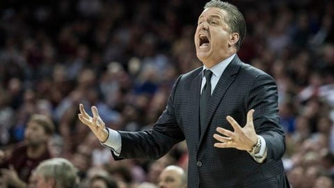 Kentucky head coach John Calipari reacts to a play during the first half of an NCAA college basketball game against South Carolina Tuesday, Jan. 16, 2018, in Columbia, S.C. (AP Photo/Sean Rayford)
