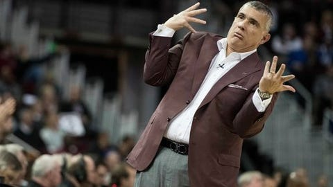 South Carolina head coach Frank Martin reacts to a play during the first half of an NCAA college basketball game against Kentucky Tuesday, Jan. 16, 2018, in Columbia, S.C. (AP Photo/Sean Rayford)