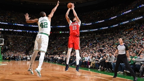 BOSTON, MA - JANUARY 16: Anthony Davis #23 of the New Orleans Pelicans shoots the ball against the Boston Celtics on January 16, 2018 at the TD Garden in Boston, Massachusetts. Anthony Davis (45 points, 16 rebounds) recorded his second consecutive 45-point game to propel the Pelicans to a 116-113 overtime victory over the Celtics. NOTE TO USER: User expressly acknowledges and agrees that, by downloading and or using this photograph, User is consenting to the terms and conditions of the Getty Images License Agreement. Mandatory Copyright Notice: Copyright 2018 NBAE  (Photo by Brian Babineau/NBAE via Getty Images)