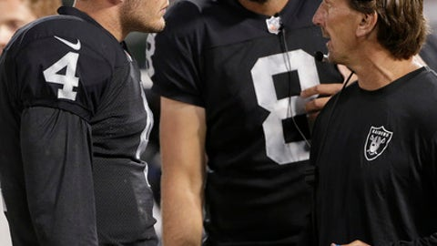 FILE - In this Aug. 15, 2014, file photo Oakland Raiders quarterback Derek Carr (4) and quarterback Matt Schaub (8) listen to offensive coordinator Greg Olson during the fourth quarter of an NFL preseason football game against the Detroit Lions in Oakland, Calif. Olson was quite clear about what the top priority will be for coach Jon Gruden's new staff with the Raiders. Everything from the smallest details like how practice is conducted to bigger decisions about personnel and scheme will be made with the thought process of how it will help Derek Carr develop into a top-flight NFL quarterback. (AP Photo/Marcio Jose Sanchez, File)