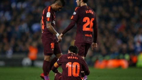 FC Barcelona's Lionel Messi reacts during the Spanish Copa del Rey, quarter final, first leg, soccer match between Espanyol and FC Barcelona at RCDE stadium in Cornella Llobregat, Spain, Wednesday, Jan. 17, 2018. (AP Photo/Manu Fernandez)
