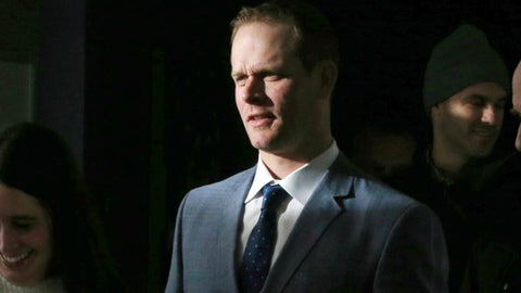 Sunlight falls on former Minnesota Twins' Justin Morneau as he arrives at Target Field to announce his retirement as a Twins player during a news conference Wednesday, Jan. 17, 2018 in Minneapolis. The former MVP spent 14 seasons in the majors. (AP Photo/Jim Mone)