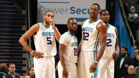 CHARLOTTE, NC - JANUARY 17: The Charlotte Hornets huddle during the game against the Washington Wizards on January 17, 2018 at Spectrum Center in Charlotte, North Carolina. NOTE TO USER: User expressly acknowledges and agrees that, by downloading and or using this photograph, User is consenting to the terms and conditions of the Getty Images License Agreement.  Mandatory Copyright Notice:  Copyright 2018 NBAE (Photo by Brock Williams-Smith/NBAE via Getty Images)
