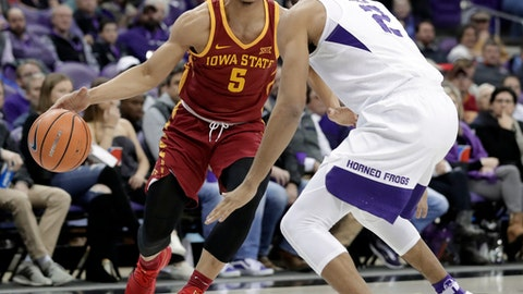 Iowa State guard Lindell Wigginton (5) works for an opportunity the basket as TCU's Shawn Olden (2) defends in the first half of an NCAA college basketball game, Wednesday, Jan. 17, 2018, in Fort Worth, Texas. (AP Photo/Tony Gutierrez)