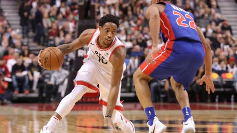 TORONTO, ON - JANUARY 17: DeMar DeRozan #10 of the Toronto Raptors dribbles against the Detroit Pistons at Air Canada Centre on January 17, 2018 in Toronto, Canada. NOTE TO USER: User expressly acknowledges and agrees that, by downloading and or using this photograph, User is consenting to the terms and conditions of the Getty Images License Agreement. (Photo by Tom Szczerbowski/Getty Images)