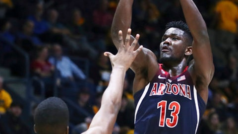 Arizona's Deandre Ayton, right, shoots over California's Kingsley Okoroh (22) in the second half of an NCAA college basketball game Wednesday, Jan. 17, 2018, in Berkeley, Calif. (AP Photo/Ben Margot)