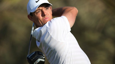 Northern Ireland's Rory McIlroy tees off on the 14th hole during the first round of the Abu Dhabi Championship golf tournament in Abu Dhabi, United Arab Emirates, Thursday, Jan. 18, 2018. (AP Photo/Kamran Jebreili)