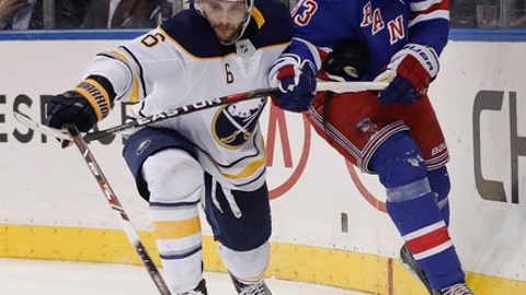Buffalo Sabres defenseman Marco Scandella (6) and New York Rangers center Mika Zibanejad (93) vie for control of the puck during the second period of an NHL hockey game Thursday, Jan. 18, 2018, in New York. (AP Photo/Julie Jacobson)