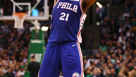 BOSTON, MA - JANUARY 18:  Joel Embiid #21 of the Philadelphia 76ers handles the ball during the second half against the Boston Celtics at TD Garden on January 18, 2018 in Boston, Massachusetts.  (Photo by Tim Bradbury/Getty Images)