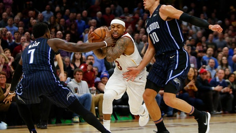 CLEVELAND, OH - JANUARY 18:  Isaiah Thomas #3 of the Cleveland Cavaliers is fouled late in the game by Shelvin Mack #7 of the Orlando Magic at Quicken Loans Arena on January 18, 2018 in Cleveland, Ohio. NOTE TO USER: User expressly acknowledges and agrees that, by downloading and or using this photograph, User is consenting to the terms and conditions of the Getty Images License Agreement. (Photo by Justin K. Aller/Getty Images)