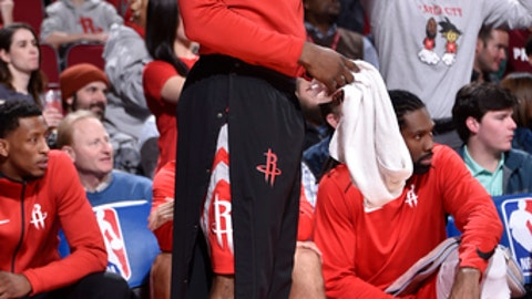 HOUSTON, TX - JANUARY 18: James Harden #13 of the Houston Rockets during the game against the Minnesota Timberwolves on January 18, 2018 at the Toyota Center in Houston, Texas. NOTE TO USER: User expressly acknowledges and agrees that, by downloading and/or using this photograph, user is consenting to the terms and conditions of the Getty Images License Agreement. Mandatory Copyright Notice: Copyright 2018 NBAE (Photo by Bill Baptist/NBAE via Getty Images)