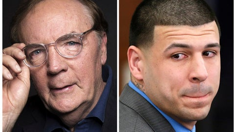 "FILE - In this photo combo, author James Patterson poses for a portrait in New York on Aug. 30, 2016 and former New England Patriots tight end Aaron Hernandez reacts on April 14, 2017, to his double murder acquittal in Boston. Eight months after Hernandez hanged himself in prison, Patterson's new book is reviving unanswered questions. He talked with The Associated Press ahead of CBS' ""48 Hours,"" airing Saturday, Jan. 20, 2018, devoted to what Patterson calls ""the most fascinating, complicated and troubling crime story of our times."" (Photo by Taylor Jewell/Invision/AP, left, and AP Photo/Stephan Savoia, Pool, File)"