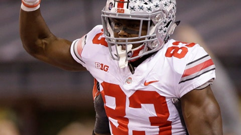 FILE - In this Dec. 2, 2017, file photo, Ohio State's Terry McLaurin celebrates an 84-yard touchdown reception during the first half of the Big Ten championship NCAA college football game against Wisconsin,  in Indianapolis. McLaurin will be back with the Buckeyes next season. (AP Photo/AJ Mast, File)