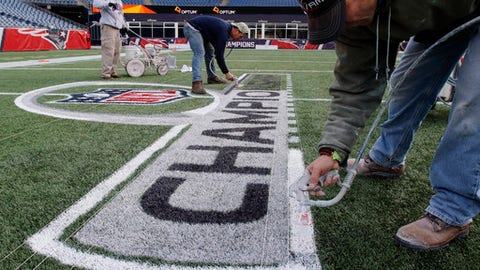 Workers paint the field of Gillette Stadium, Friday, Jan. 19, 2018, in Foxborough, Mass., where the New England Patriots host the Jacksonville Jaguars in the AFC championship on Sunday. (AP Photo/Bill Sikes)