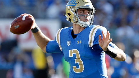FILE - In this Sept. 9, 2017, file photo, UCLA quarterback Josh Rosen (3) passes the ball against Hawaii during the second half of an NCAA college football game in Pasadena, Calif. Quarterbacks Sam Darnold, Lamar Jackson and Josh Rosen are among the record 106 underclassmen given special entry to the NFL draft, making it four of the last five seasons in which at least 95 players have declared early. The NFL released Friday, Jan. 19, 2018, the official list of college players who have requested early entry.  (AP Photo/Alex Gallardo, File)