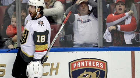 Vegas Golden Knights' James Neal (18) reacts after scoring during the third period of the team's NHL hockey game against the Florida Panthers, Friday, Jan. 19, 2018, in Sunrise, Fla. The Panthers won 4-3 in overtime. (AP Photo/Lynne Sladky)