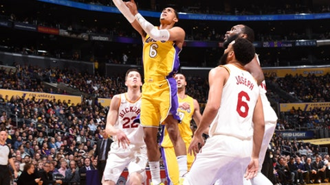 LOS ANGELES, CA - JANUARY 19:  Jordan Clarkson #6 of the Los Angeles Lakers goes to the basket against the Indiana Pacers on January 19, 2018 at STAPLES Center in Los Angeles, California. NOTE TO USER: User expressly acknowledges and agrees that, by downloading and/or using this Photograph, user is consenting to the terms and conditions of the Getty Images License Agreement. Mandatory Copyright Notice: Copyright 2018 NBAE (Photo by Andrew D. Bernstein/NBAE via Getty Images)