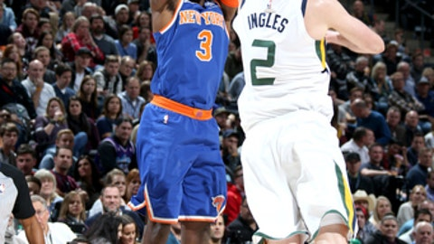 SALT LAKE CITY, UT - JANUARY 19:  Tim Hardaway Jr. #3 of the New York Knicks shoots the ball against the Utah Jazz on January 19, 2018 at vivint.SmartHome Arena in Salt Lake City, Utah. NOTE TO USER: User expressly acknowledges and agrees that, by downloading and or using this Photograph, User is consenting to the terms and conditions of the Getty Images License Agreement. Mandatory Copyright Notice: Copyright 2018 NBAE (Photo by Melissa Majchrzak/NBAE via Getty Images)