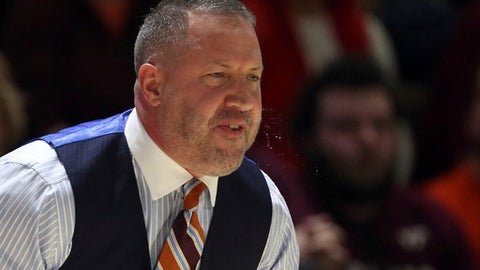 Virginia Tech head coach Buzz Williams Virginia Tech yells out to his players during the first half of an NCAA college basketball game against Florida State in Blacksburg, Va., Saturday, Jan. 20 2018. (Matt Gentry/The Roanoke Times via AP)